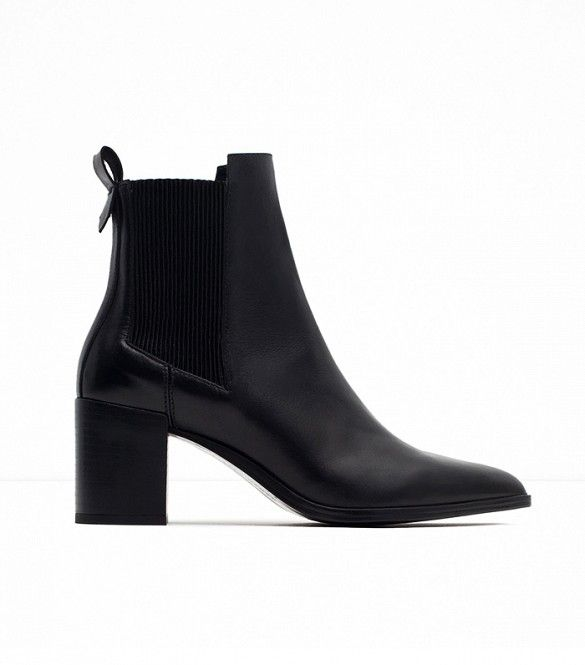 Zara High Heel Leather Ankle Boots With Stretch Detail in Black