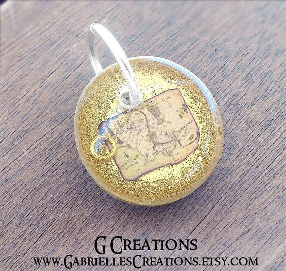 LOTR Dog & Cat ID Tag  Small Round Gold by GabriellesCreations
