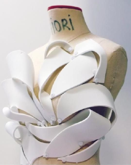 Experimental Draping - bodice design using craft foam to create shape & structure; fabric manipulation // Chu Tai Lu