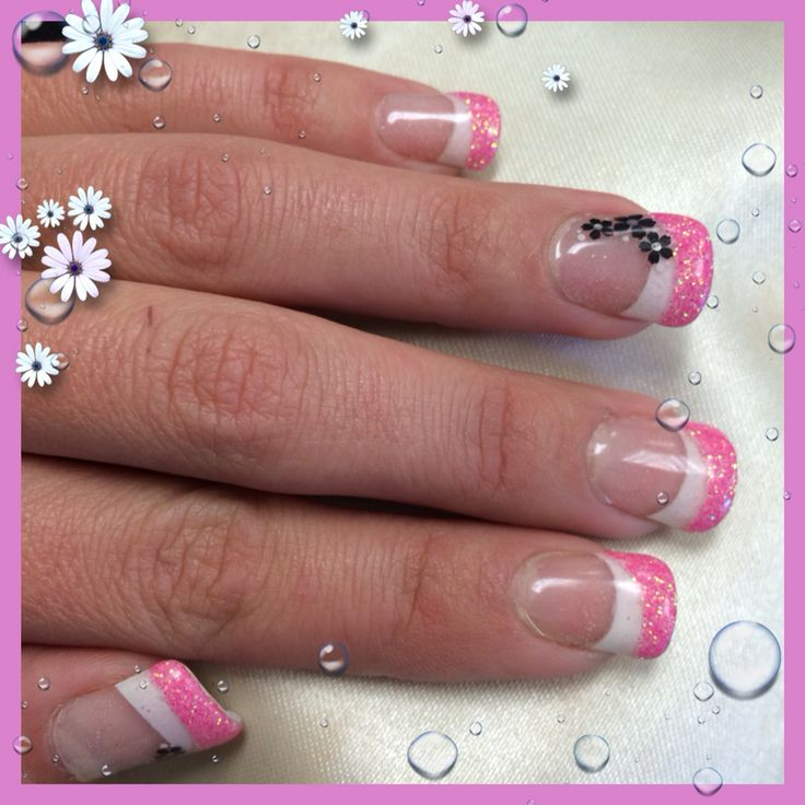 Half pink French look nail glitter