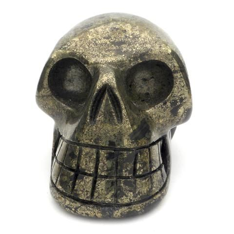 Skull Hand Carved from Healers Gold   Pyrites   Magnetite   Crystal Heart Melbourne Australia since 1986