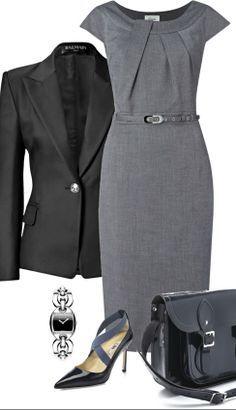Linea belted dress ● Balmain black jacket ● Manolo Blahnik pumps. #vestido #tubinho #cinza #alfaiataria #blazer #preto #acessórios