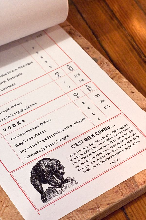 LE CHASSEUR - RESTO-BAR DE QUARTIER menu design by Jean-Philippe Dugal, via Behance