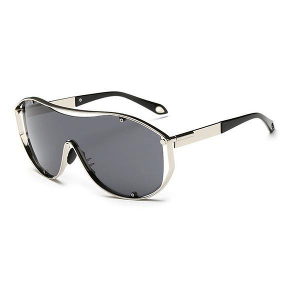 FuzWeb:VEGA Oversize Sunglasses Men Women er High Quality Party Glasses With Pouch Metal Frame Super Wide Lens 18047