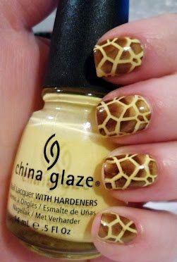 Giraffe Nails - one of my favorite animals.