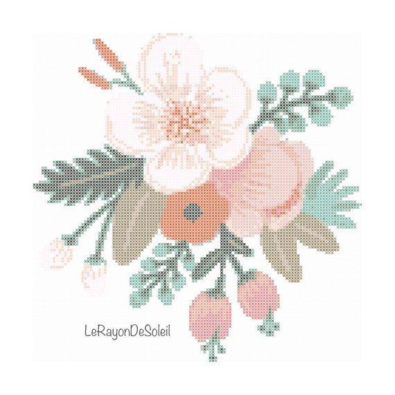 Wild flores de color rosa amapola cruzan patrón de la puntada - decoración de marco - servilletas mantel motivo paño de cocina.