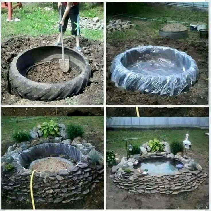 Pond Garden Tractor: Small Diy Pond With Tractor Tire & River Rocks