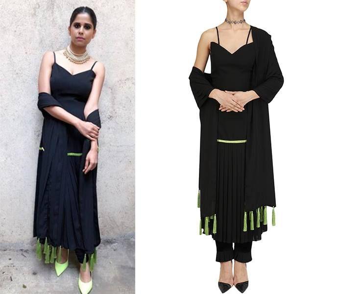 GET THE LOOK!  Sai Tamhankar looks stunning in Black Pleated Kurta and Pants Set by Chandni Sahi  Shop now at: #saitamhankar #chandnisahi #modern #pleated #kurta #celebstyle #celebcloset #indiandesigners #perniaspopupshop