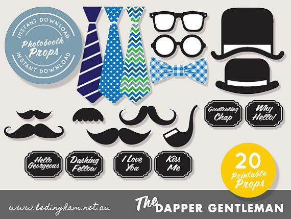Photo Booth Printable Props -Dapper Gentleman, Pipe, Moustache, Glasses, Hat, Ties