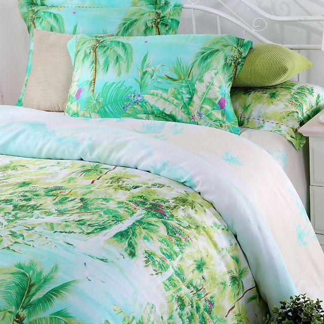 Bleu vert turquoise ensembles de literie reine king size palmier de soie couette housse de couette polka dot feuille de lit marque linge de couvre-lit