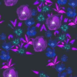 Saturated Floral by Petroula Tsipitori Seamless Repeat  Royalty-Free Stock Pattern