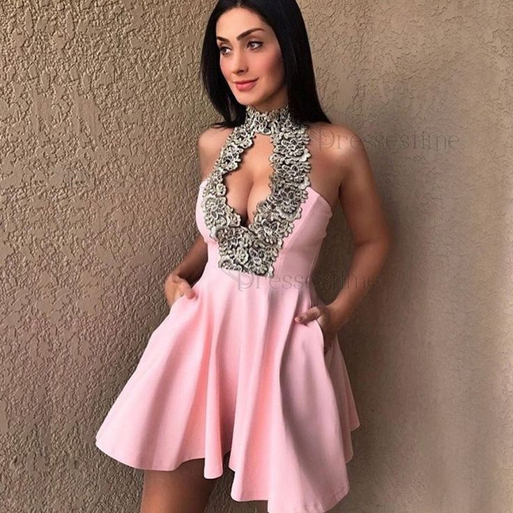 A-Line High Neck Keyhole Pink Satin Short Homecoming Dress with Appliques Pockets