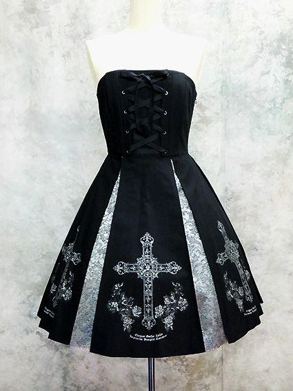 Moi-même-Moitié / Jumper Skirt / Cross and Rose Print JSK