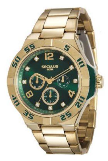 28779LPSVDS1 Relógio Feminino Dourado Seculus Analógico   Guest Club