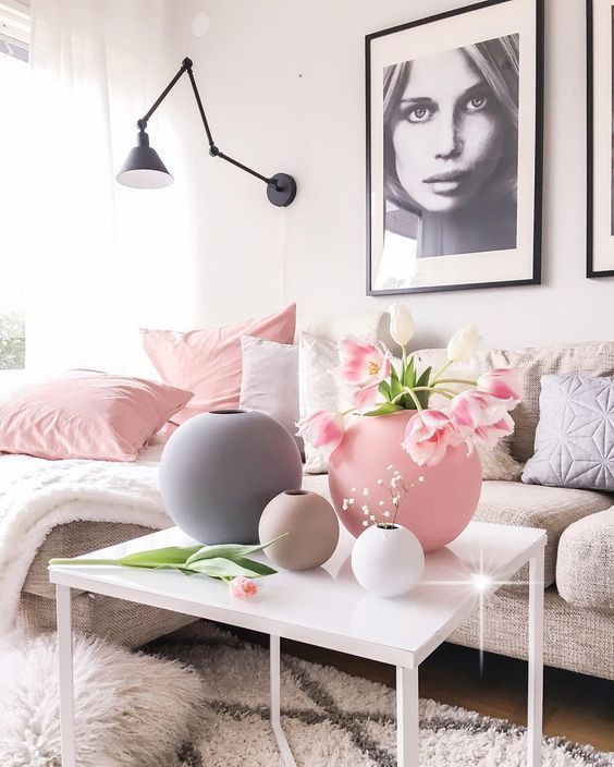 pink and white living room inspiration