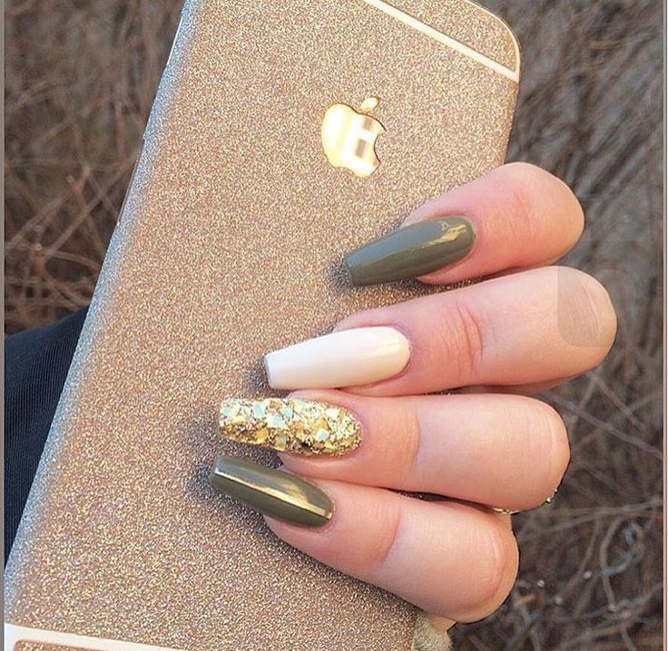 Army Green nail polish with gold on ring finger. #fallnailpolish