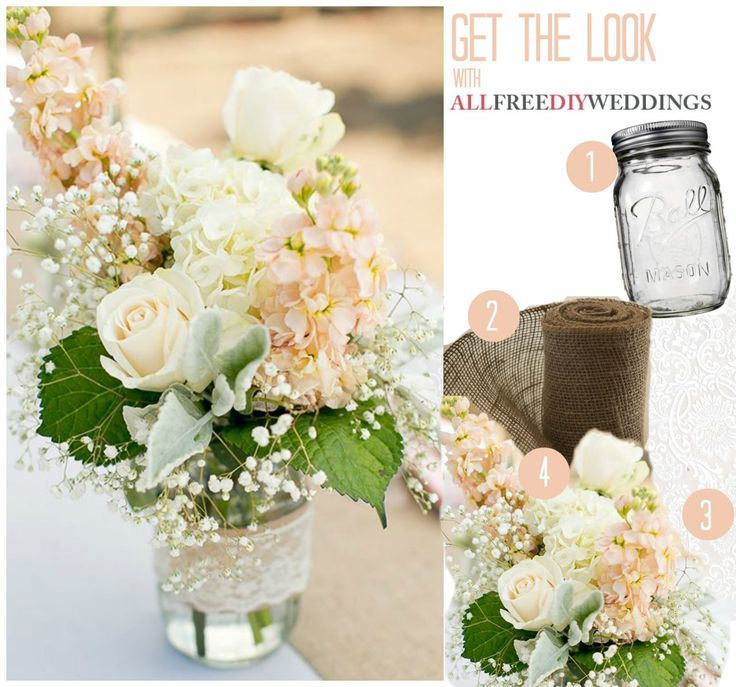 Lace and Burlap Mason Jar Centerpieces | AllFreeDIYWeddings.com