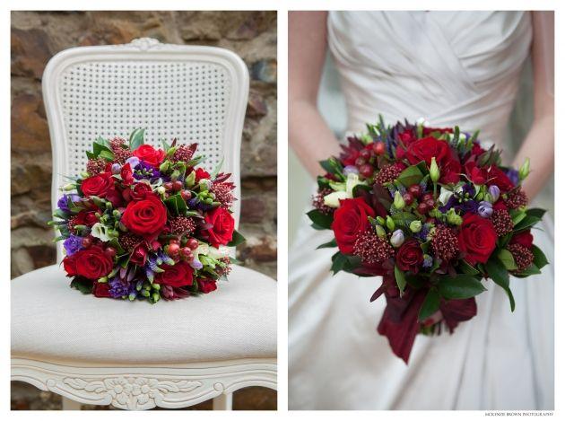Red winter wedding bouquet by Mckenzie Brown Photography