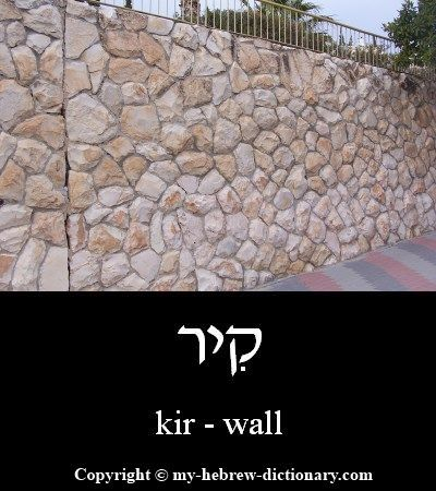 "How to say ""Wall"" in Hebrew. Click here to hear it pronounced by an Israeli: http://www.my-hebrew-dictionary.com/wall.php"