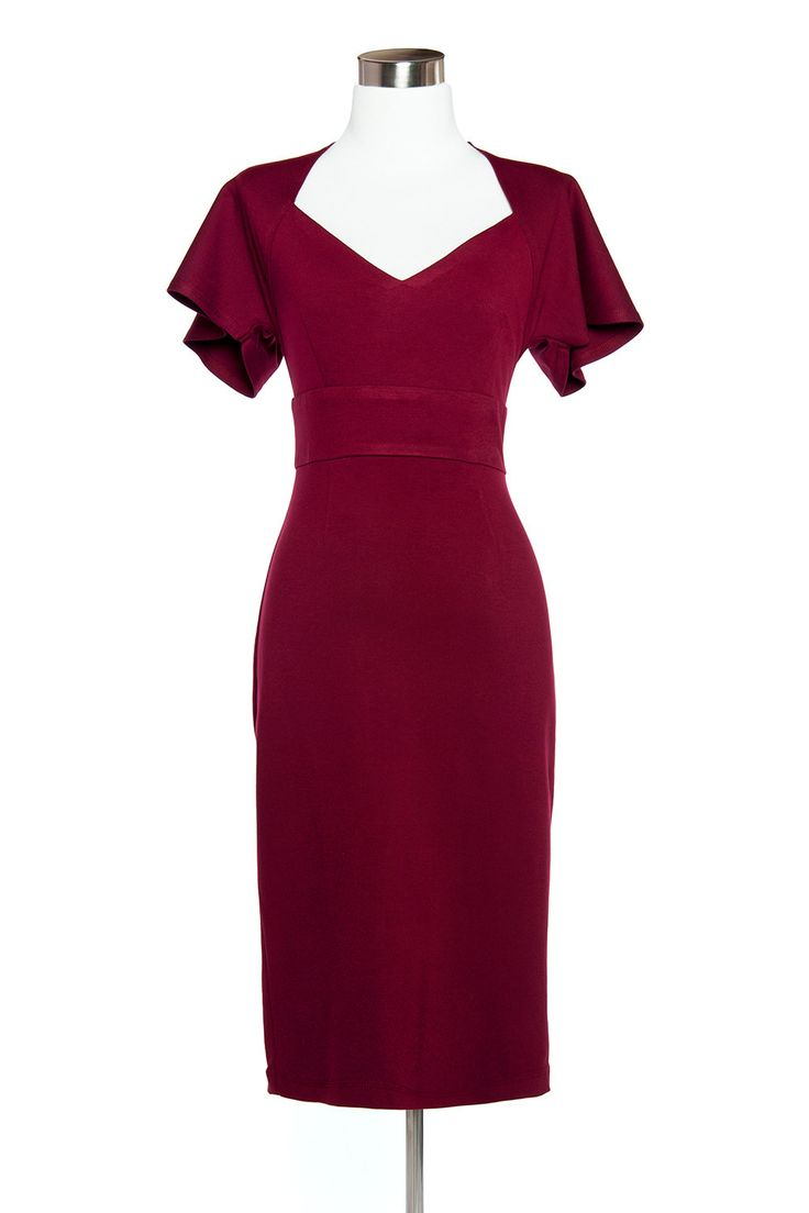 OYS Final Sale Pinup Couture Venus Dress in Merlot Wine Ponte