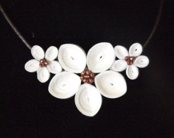 plumaria necklace quilled white paper and copper beads