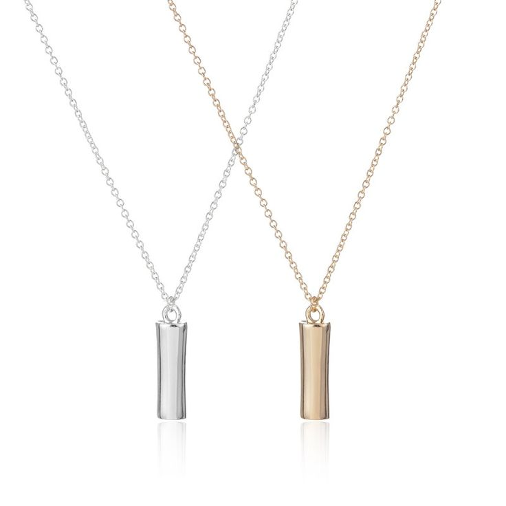 Gold Round Bar Pendant Necklace,Vertical Bar Necklace, Fashion Jewelry,Gift for…