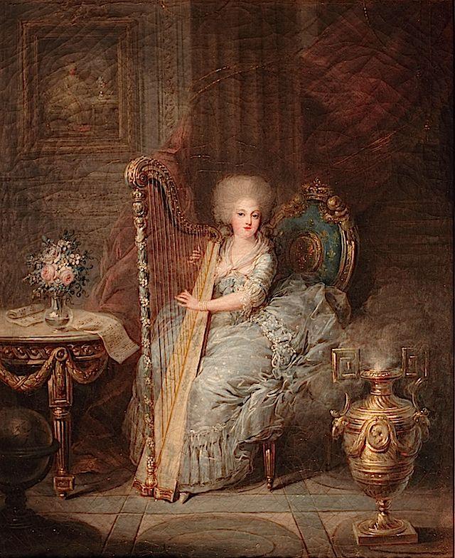 1783 Madame Élisabeth  jouant de la harpe by Charles Leclercq (Châteaux de Versailles et de Trianon - Versailles France) Photo - Léna