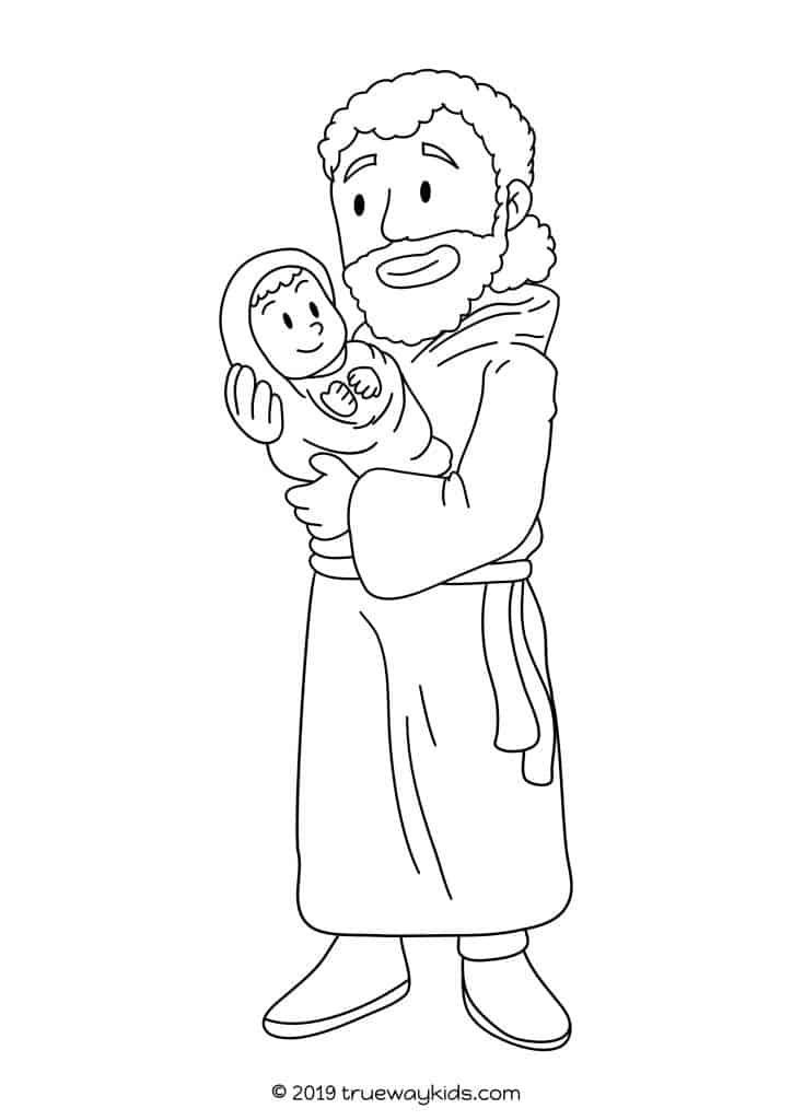 Simeon With Jesus Coloring Sheet Free Coloring Page For Kids In