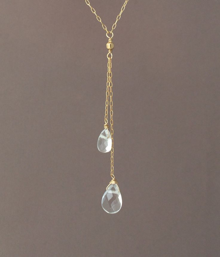 Gold Y Lariat Drop Clear Quartz Gemstone Necklace also in Rose Gold Fill and Sterling Silver