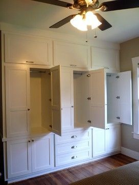 Custom Shaker Wardrobe for 1920s Vintage Bungalow in the Heights traditional-dressers-chests-and-bedroom-armoires #builddresserbuiltins #BedroomArmoires