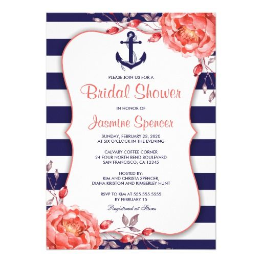 Nautical Striped Navy Blue And Coral Bridal Shower Card