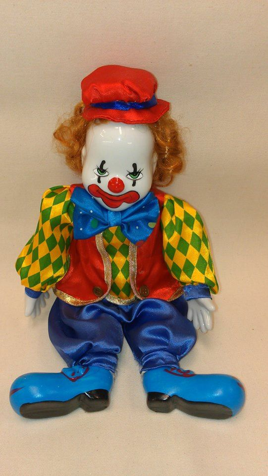 Vintage Porcelain Head Hands And Feet Hand Painted Clown With Fabric Body by BlingAndBlueJeans