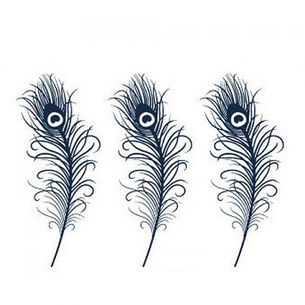 Stylish Peacock Feather Waterproof Tattoo Sticker