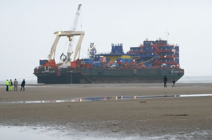 AMT Explorer waiting for the tide so it can float closer to the beach at Rhyl in 2008, for the installation of the 1st of 3 Export Cables for Rhyl Flats Windfarm