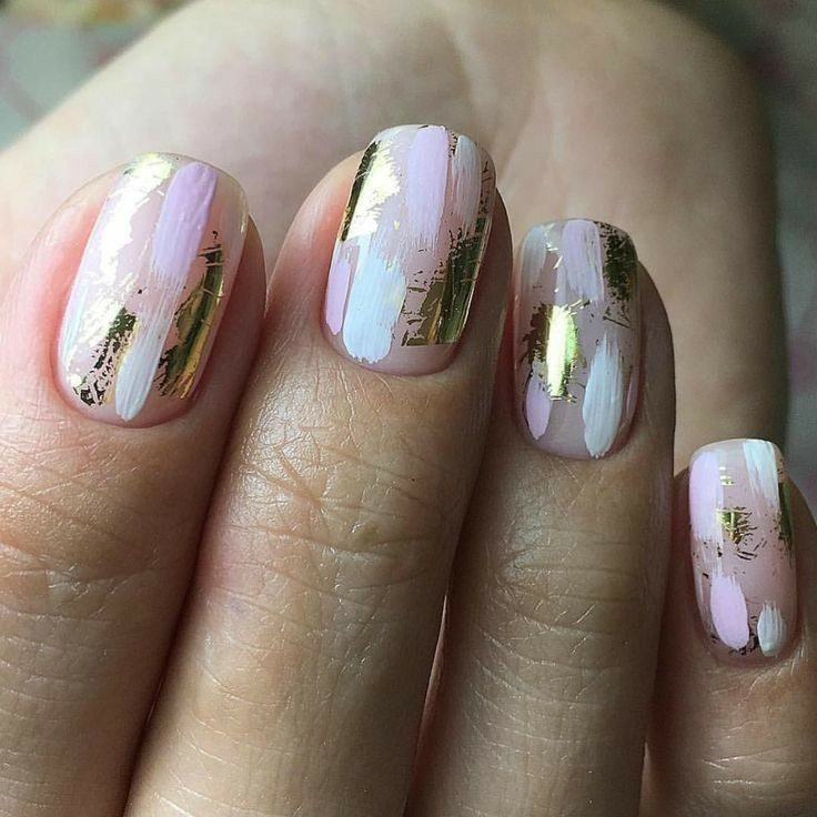 Abstract Brushstrokes Rose Gold Nails Design Gold Nails Rose