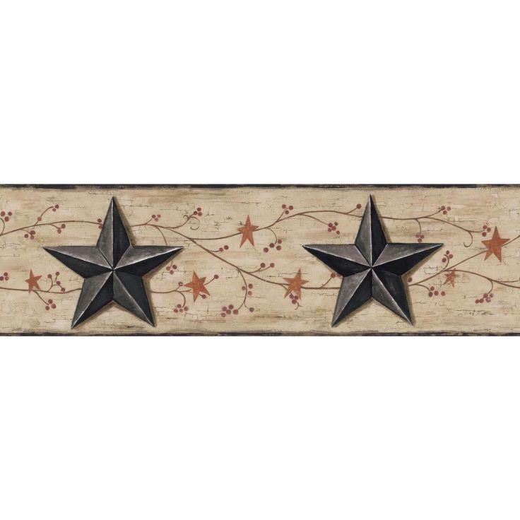 "Welcome Home Barn Star and Vine 15' x 6"" Scenic Border Wallpaper"