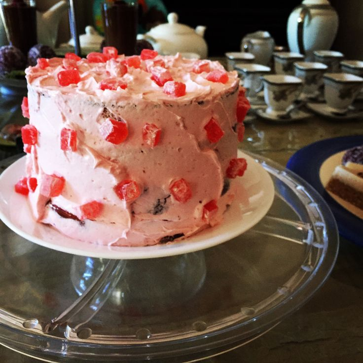 Vegan Turkish Delight Cake   Layers of sponge and rose flavoured buttercream. Finished with the same buttercream and delicious chunks of Turkish delight