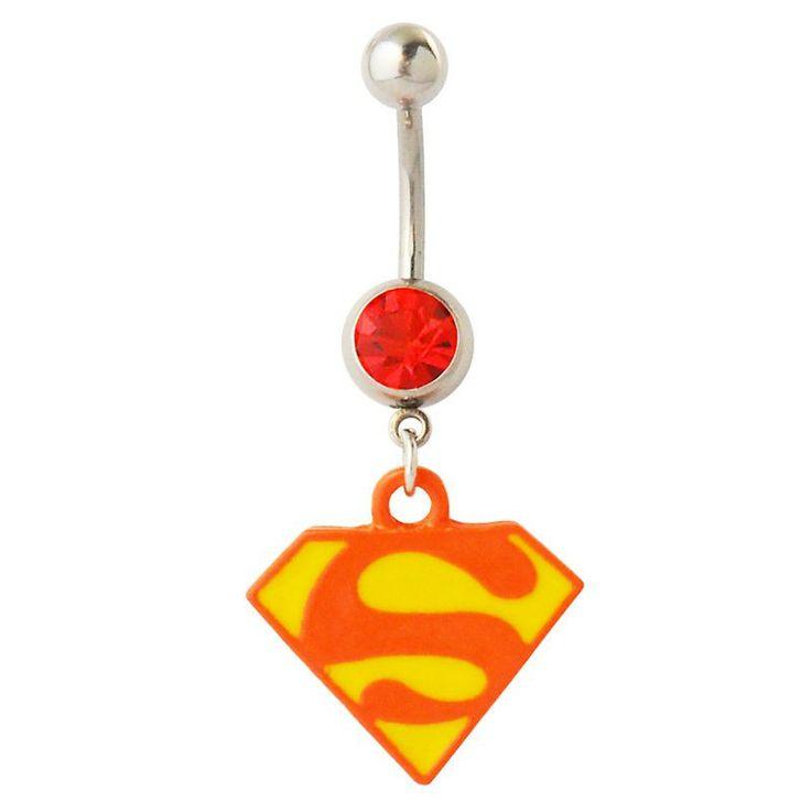 Navlepiercing med Supermand Vedhæng 32 kr