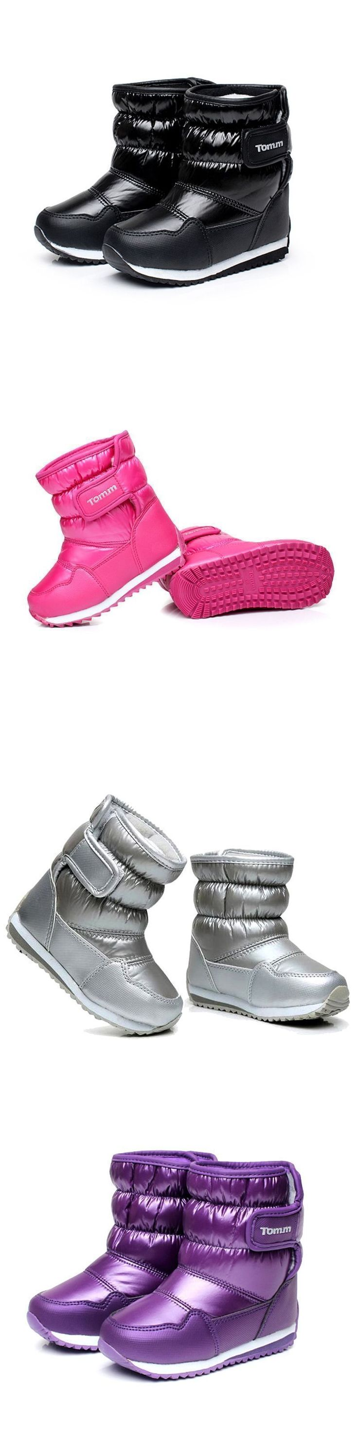 Children's Rubber Boots For Girls Boys mid-calf bungee lacing snow boots waterproof girls boot sport shoes fur lining kids boot #midcalfboots