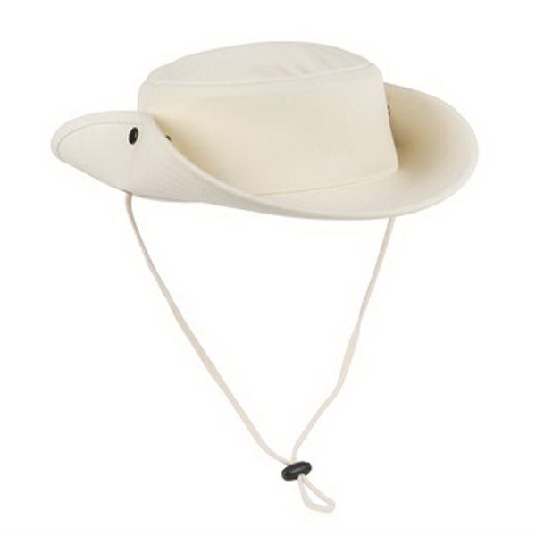 Port Authority Outback Hat. Excellent protection from the sun in a sporty design featuring a drawcord with cord locks and brass eyelets. Two side snaps allow you to wear brim up or down. Fabric: 100% heavy cotton canvas Structure: Structured