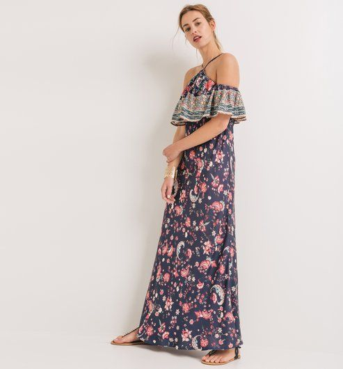 Wzorzysta sukienka maxi niebieski nadruk - Promod
