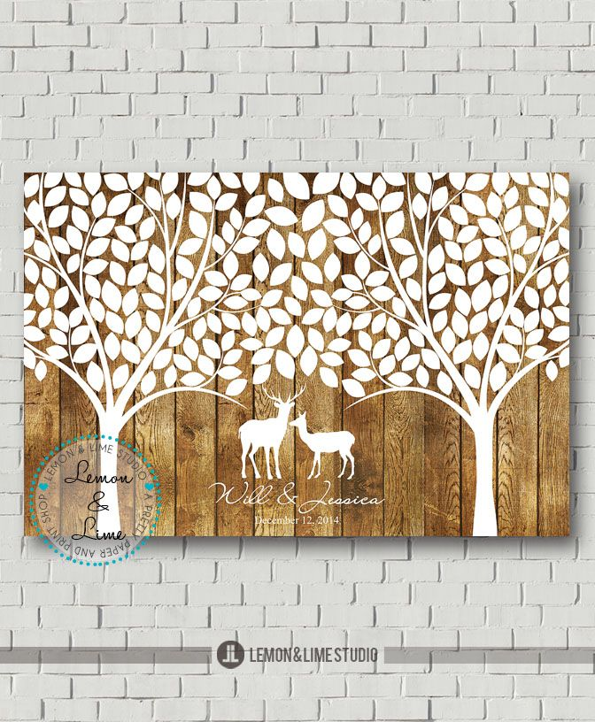Wedding Trees Duo, Outdoor Wedding, Wood Wedding, Woodsy Wedding, Rustic Wedding, Wedding Poster, Modern Guest Book, Guest Book Alternative, Wedding Decor from Lemon AND Lime Studio