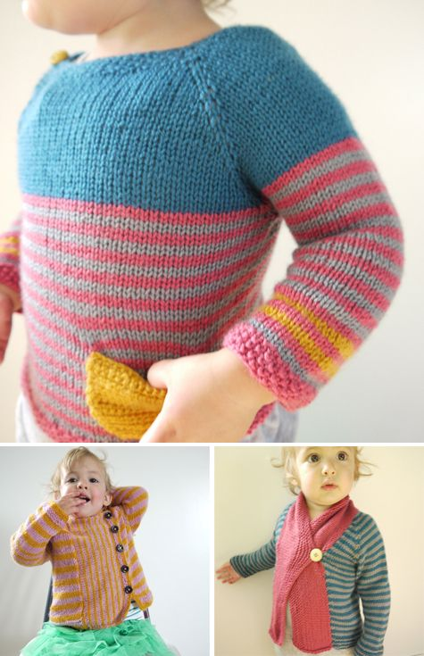 stripes. knit pockets. buttons.: Kids Girls, Crochet Boys Clothing, Crochet Little Girls Clothing, Color Combos, Baby Sweaters, Little Girls Knits Jumpers, Baby Knits, Children Clothing, Kids Clothing