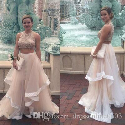 Crystals Prom Dress Two Piece Real Photo Round Neck Puffy Tulle Skirt Girls Pageant Party Dresses 2016 Vestidos De Baile Best Prom Dress Childrens Prom Dresses From Dressonline0603, $129.84  Dhgate.Com