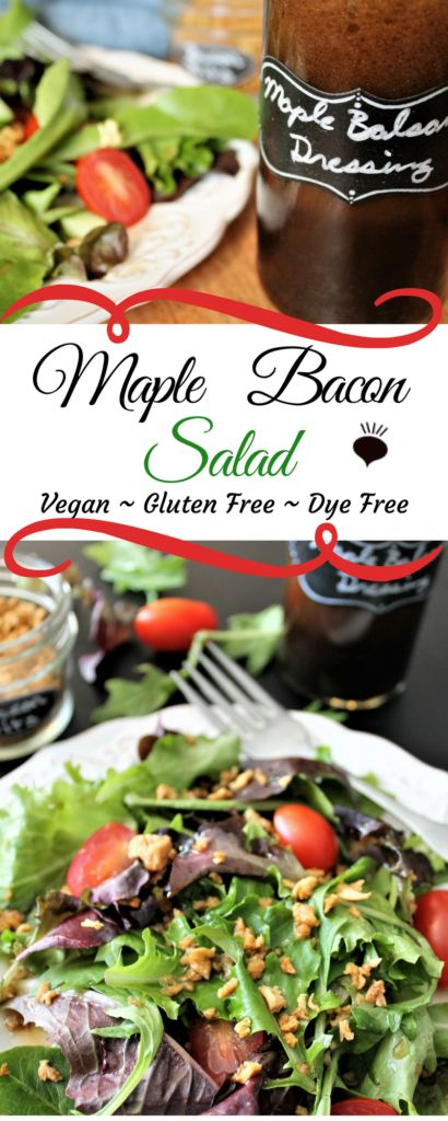 This delicious maple bacon vinaigrette salad is vegan and gluten free and has no food dyes or preservatives – just the best flavor combination for a delicious salad. thehiddenveggies.com