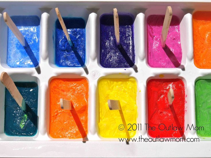 Ice cube paint. Freeze water and food color in ice trays. Freeze with a toothpick or popsicle stick. Go outside if it's warm and enjoy some cold painting.