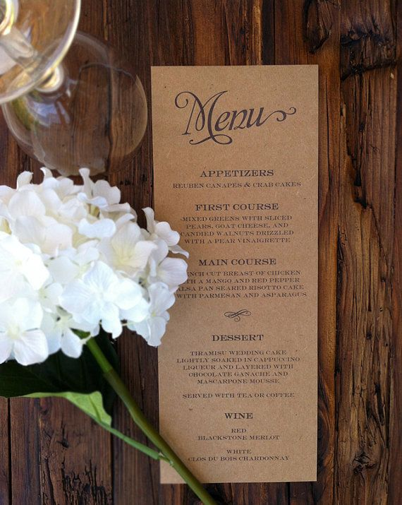 Rustic Kraft Wedding Menus by paperandlaceaustin on Etsy, $30.00