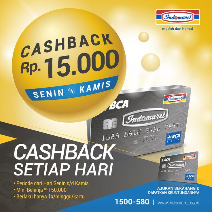 Spesial buat kamu pada hari senin-kamis dapat cashback Rp 15.000,- setiap transaksi min Rp 150.000 di toko INDOMARET/CERIAMART cbg tertentu. (*Berlaku untuk 1x/minggu/kartu). Nantikan terus kejutan lainnya di toko INDOMARET/CERIAMART! #CashbackSetiapHari Masih belum punya Kartu Kredit Indomaret? Ajukan sekarang juga di toko INDOMARET/CERIAMART. Untuk info lebih lanjut, klik : www.indomaret.co.id/kartukreditindomaret