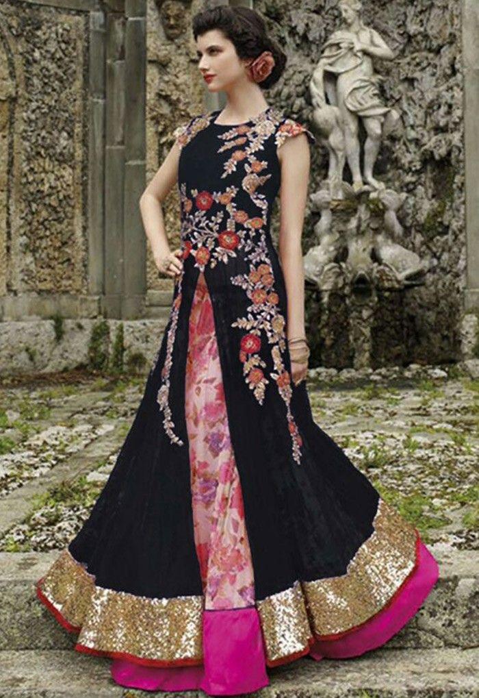 Black Net Lehenga Style Suit with Dupatta - SALWAR KAMEEZ - Women