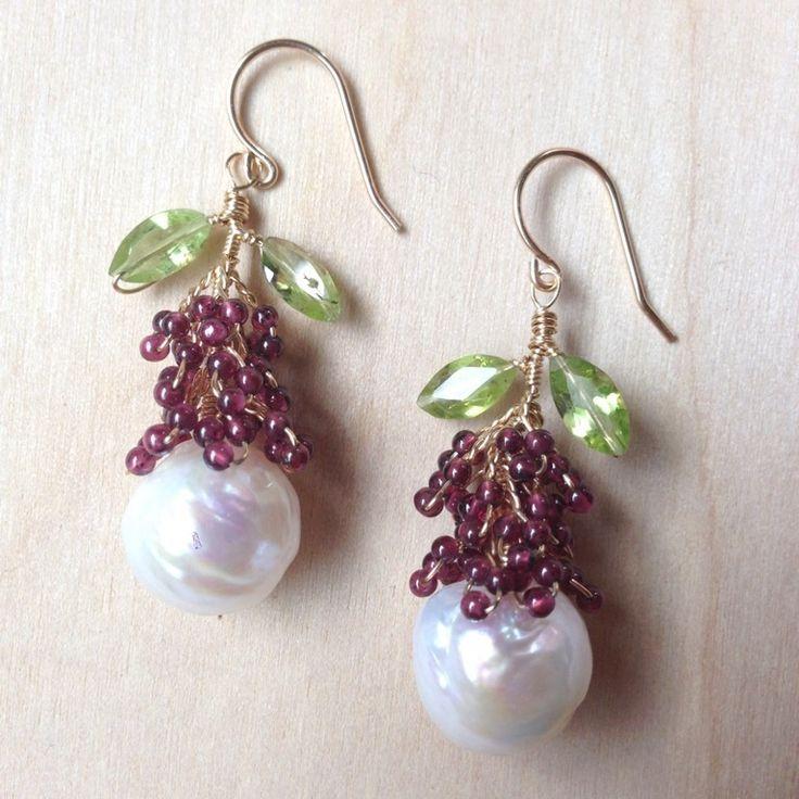 "2"" longBaroque Freshwater Pearls, Garnet, Peridot, 14k GoldfillOne of a kind."